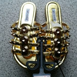 Nwt metallic studded slip on sandals